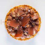 Dark chocolate pure origin Equador gelato, cruncky hazelnut base and exotic jelly