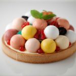 Sweet paste base, apricot jam, custard cream gelato, mixed ball with different fruit flavor