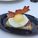 """Savory"" custard cream gelato and black pepper, white egg omelette, bread and bacon"